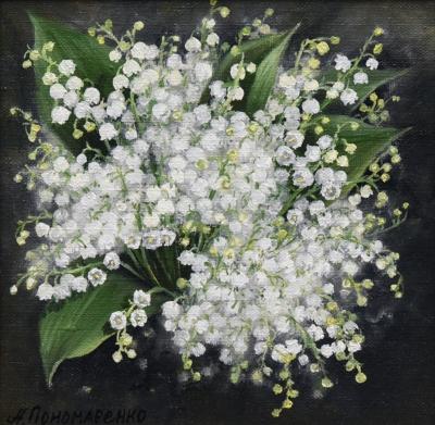 Картина «Ландыши» - автор Альфия Пономоренко, живопись, холст, масло, 20×20 см, 2018 год.