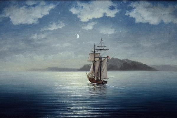 Картина «Ночное путешествие» - автор Альфия Пономоренко, живопись, холст, масло, 30×45 см, 2017 год.