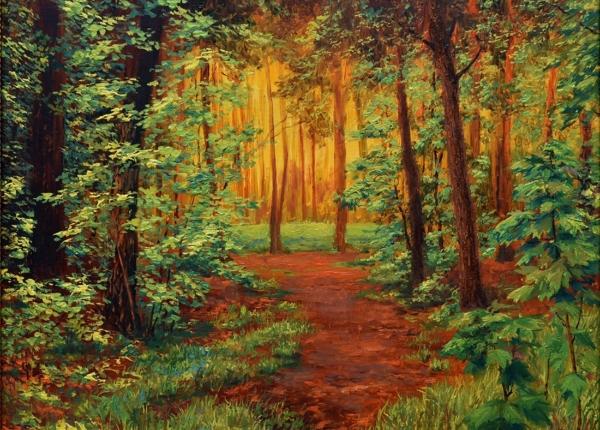 Картина «Вечер в лесу» - автор Сергей Елизаров, живопись, холст, масло, 30×40 см, 2016 год.
