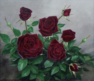 Картина «Розы» - автор Альфия Пономаренко, живопись, холст, масло, 35×40 см, 2015 год.