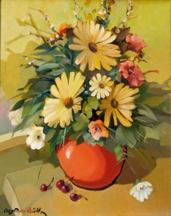 Картина «Ромашки в кувшине» - автор Владимир Солдаткин, живопись, масло, оргалит, 50×40 см, 2018 год.