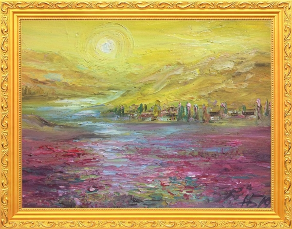 Картина «Поле маков» - автор Баженова Наталья, живопись, холст, масло, 18×24 см, 2019 год. в раме