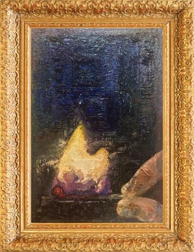 Картина «Космический ветер» - автор Павел Яковлев, живопись, системная плата на фанере, масло, 22,5×33 см, 2016 год в раме