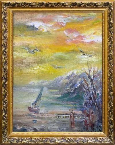 Картина «Утро в заливе» - автор Баженова Наталья, живопись, холст, масло, 24×18 см, 2018 год. в раме