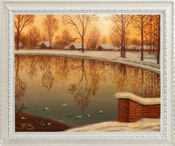 Картина «Вечер в Марфино» - автор Елена Зеленчева, живопись, холст, масло, 25×30 см, 2015 год в раме
