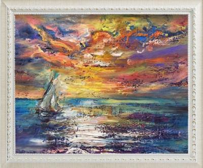 Картина «Закат на море» - автор Баженова Наталья, живопись, холст, масло, 21×30 см, 2019 год. в раме