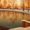 Картина «Вечер в Марфино» - автор Елена Зеленчева, живопись, холст, масло, 25×30 см, 2015 год.
