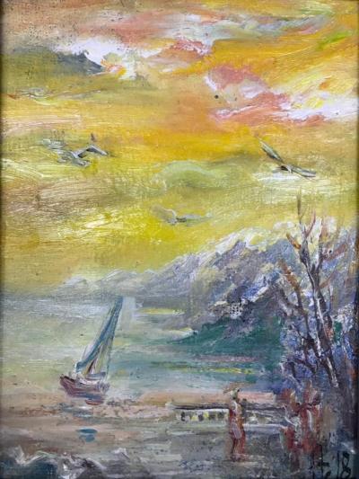 Картина «Утро в заливе» - автор Баженова Наталья, живопись, холст, масло, 24×18 см, 2018 год.