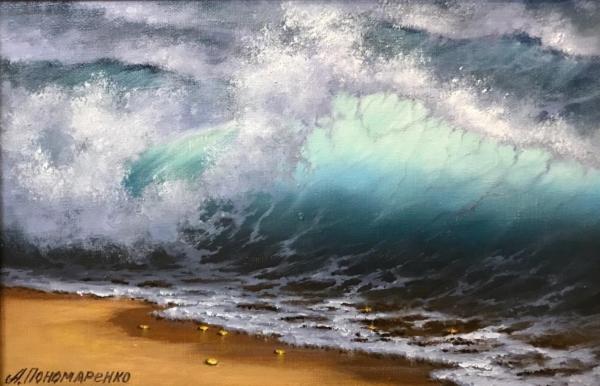 """Картина """"Подарок волны"""" - автор Альфия Пономаренко, живопись, холст, масло, 20×30 см, 2019 год."""