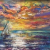 Картина «Закат на море» - автор Баженова Наталья, живопись, холст, масло, 21×30 см, 2019 год.