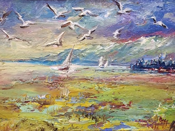 Картина «Чайки над морем» - автор Баженова Наталья, живопись, холст, масло, 15×23 см, 2019 год.