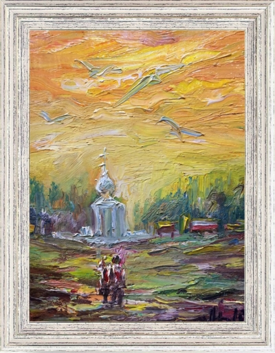 Картина «Путь к храму» - автор Баженова Наталья, живопись, холст на картоне, масло, 20×15 см, 2019 год. Картина в раме