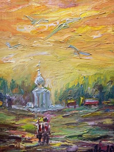 Картина «Путь к храму» - автор Баженова Наталья, живопись, холст на картоне, масло, 20×15 см, 2019 год.