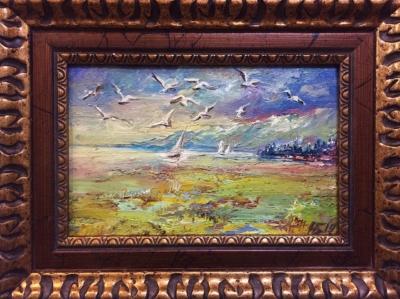 Картина «Чайки над морем» - автор Баженова Наталья, живопись, холст, масло, 15×23 см, 2019 год. Багет