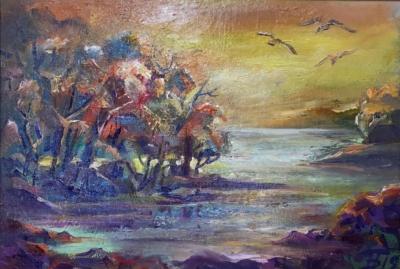 Картина «Золотой свет» - автор Баженова Наталья, живопись, холст, масло, 20×30 см, 2019 год.