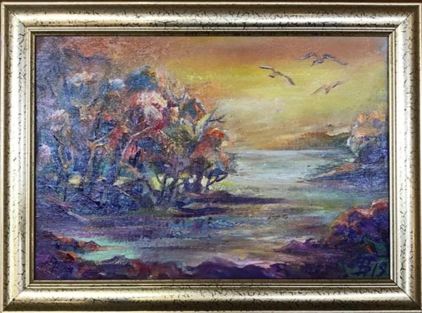 Картина «Золотой свет» - автор Баженова Наталья, живопись, холст, масло, 20×30 см, 2019 год. Багет