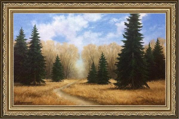 """Картина """"Ранняя весна"""" - автор Альфия Пономаренко, живопись, холст, масло, 40×70 см, 2018 год. Багет"""