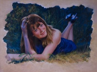 Картина «Беседа у костра в лунную ночь» - автор художник Сергей Елизаров, живопись, холст, масло, 30×40 см, 2019 год.