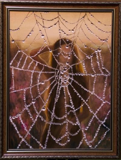 Картина «Босиком по росе» - автор художник Сергей Елизаров, живопись, холст, масло, 40×30 см, 2019 год. В раме