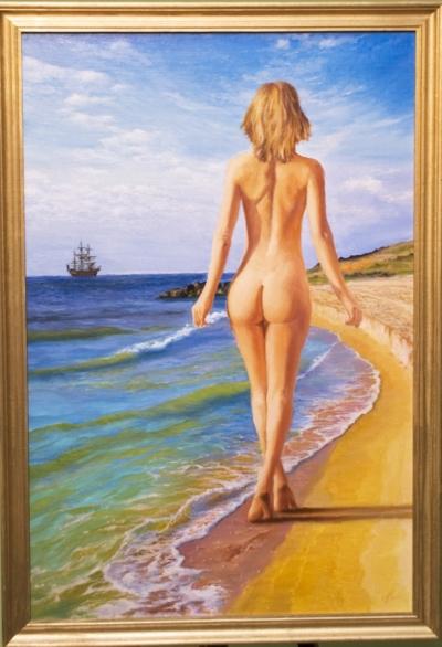 Картина «Бриз» - автор художник Сергей Елизаров, живопись, холст, масло, 60×40 см, 2017 год. В раме