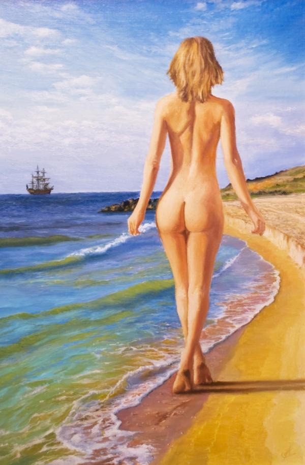 Картина «Бриз» - автор художник Сергей Елизаров, живопись, холст, масло, 60×40 см, 2017 год.
