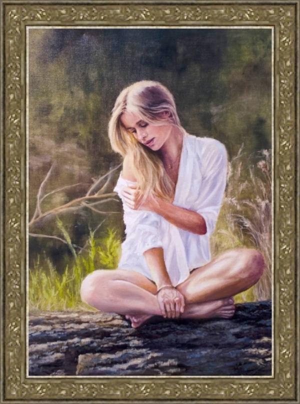 Картина «Девушка в лучах солнца» - автор художник Сергей Елизаров, живопись, холст, масло, 70×50 см, 2016 год. в раме