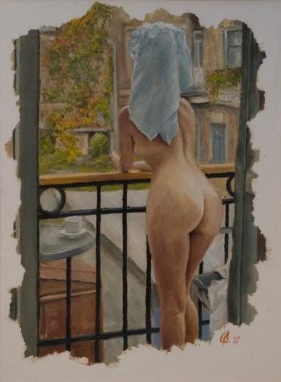 Картина «Доброе утро» - автор художник Сергей Елизаров, живопись, холст, масло, 40×30 см, 2017 год.