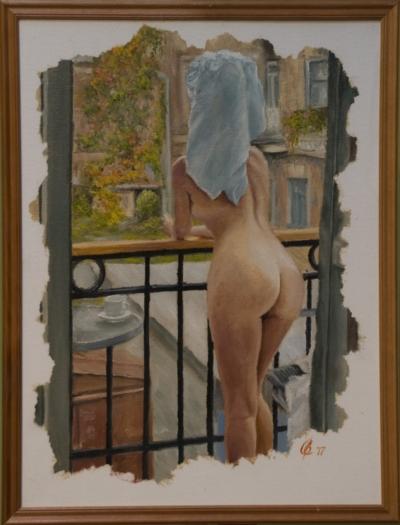 Картина «Доброе утро» - автор художник Сергей Елизаров, живопись, холст, масло, 40×30 см, 2017 год. в раме