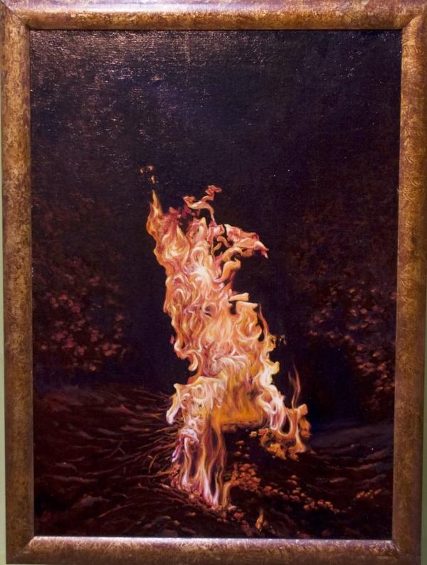Картина «Костёр» - автор художник Сергей Елизаров, живопись, холст, масло, 70×50 см, 2017 год. в раме
