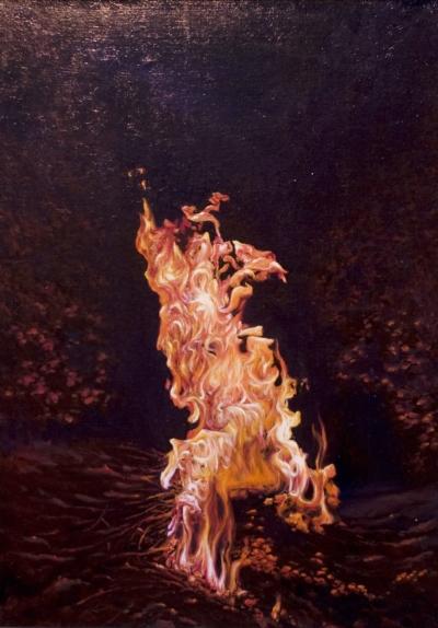 Картина «Костёр» - автор художник Сергей Елизаров, живопись, холст, масло, 70×50 см, 2017 год.