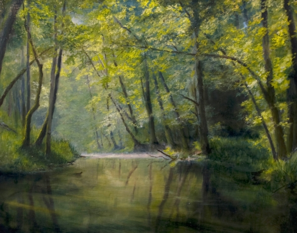 Картина «Лесной ручей» - автор художник Сергей Елизаров, живопись, холст, масло, 40×50 см, 2017 год.