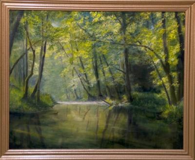 Картина «Лесной ручей» - автор художник Сергей Елизаров, живопись, холст, масло, 40×50 см, 2017 год. багет