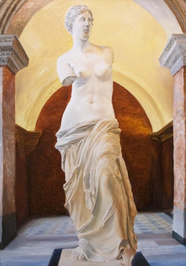 Картина «Лувр» - автор художник Сергей Елизаров, живопись, холст, масло, 70×50 см, 2017 год.