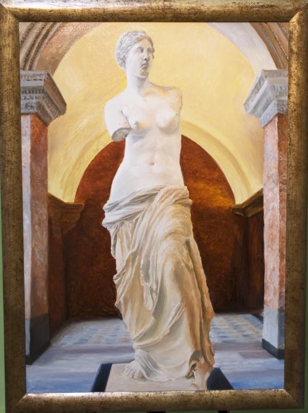 Картина «Лувр» - автор художник Сергей Елизаров, живопись, холст, масло, 70×50 см, 2017 год. багет