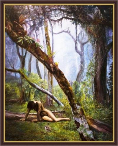 Картина «Охота на ведьм» - автор художник Сергей Елизаров, живопись, холст, масло, 50×40 см, 2018 год. Вид в багетной раме