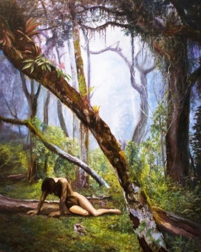 Картина «Охота на ведьм» - автор художник Сергей Елизаров, живопись, холст, масло, 50×40 см, 2018 год.
