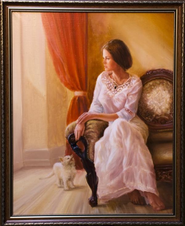 Картина «Ожидание» - автор художник Сергей Елизаров, живопись, холст, масло, 50×60 см, 2017 год. Багет