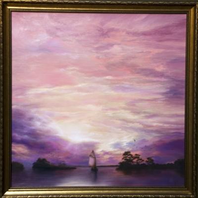Картина «Парус» - автор художник Сергей Елизаров, живопись, холст, масло, 40×40 см, 2019 год. в раме