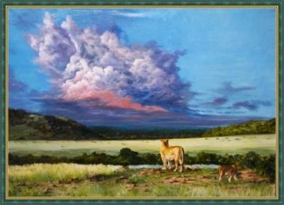 Картина «Почему лев не имеет логова» - автор художник Сергей Елизаров, живопись, холст, масло, 50×70 см, 2016 год. В багетной раме