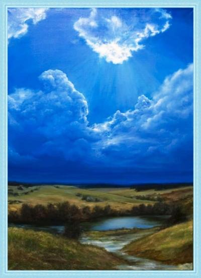 Картина «Последний снегопад» - автор художник Сергей Елизаров, живопись, холст, масло, 70×50 см, 2018 год. Вид в багетной раме