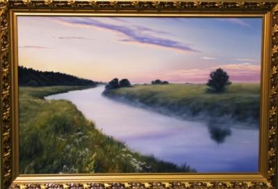 Картина «Рассвет на р.Упа» - автор художник Сергей Елизаров, живопись, холст, масло, 40×60 см, 2019 год. Вид в раме