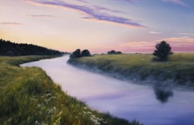 Картина «Рассвет на р.Упа» - автор художник Сергей Елизаров, живопись, холст, масло, 40×60 см, 2019 год.