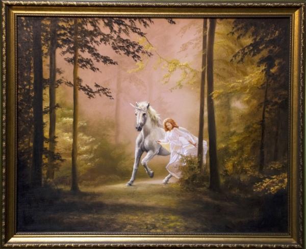 Картина «Сказочный лес» - автор художник Сергей Елизаров, живопись, холст, масло, 40×50 см, 2019 год. В раме