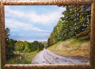 Картина «Соборная гора п.Одоев» - автор художник Сергей Елизаров, живопись, холст, масло, 50×70 см, 2018 год. В раме