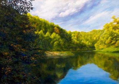 Картина «Утро на реке» - автор художник Сергей Елизаров, живопись, холст, масло, 50×70 см, 2017 год.