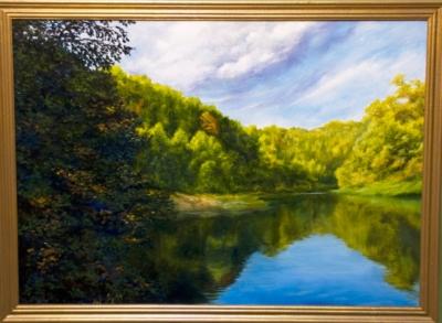 Картина «Утро на реке» - автор художник Сергей Елизаров, живопись, холст, масло, 50×70 см, 2017 год. В багетной раме