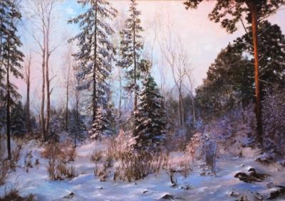 Картина «Зимний вечер» - автор художник Сергей Елизаров, живопись, холст, масло, 50×70 см, 2018 год.