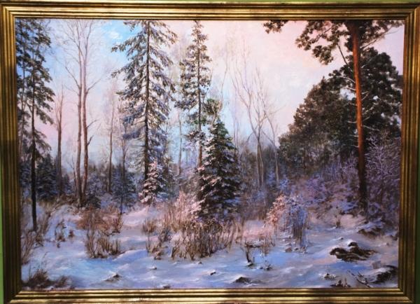 Картина «Зимний вечер» - автор художник Сергей Елизаров, живопись, холст, масло, 50×70 см, 2018 год. в раме
