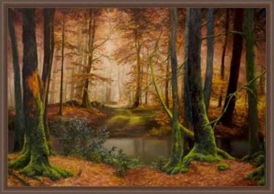 Картина «Арденский лес» - автор художник Сергей Елизаров, живопись, двп, масло, 50×70 см, 2018 год. Вид в багетной раме