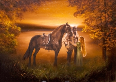 Картина «Сага» - автор художник Сергей Елизаров, живопись, холст, масло, 50×70 см, 2019 год.